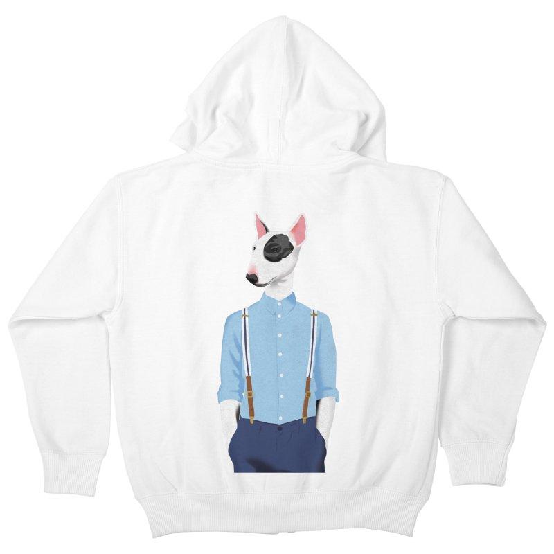Skinhead Bull Terrier Kids Zip-Up Hoody by drawgood's Shop