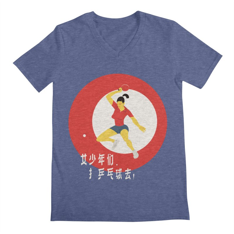 Go Play Ping Pong Men's V-Neck by drawgood's Shop