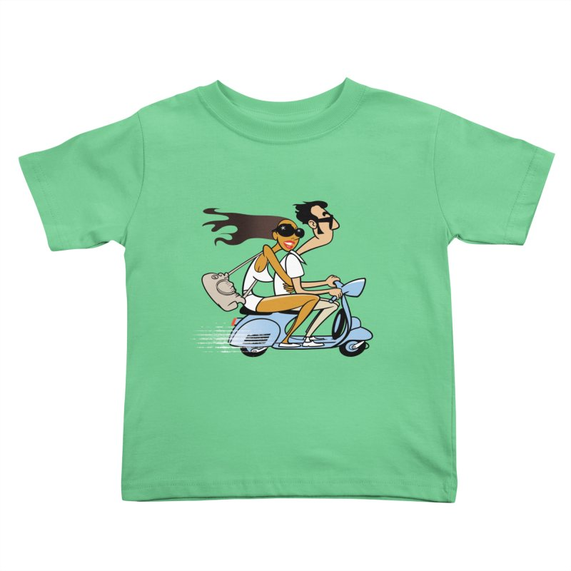 Scooter Couple Kids Toddler T-Shirt by drawgood's Shop