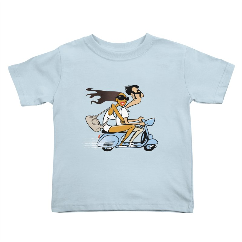 Scooter Couple Kids Toddler T-Shirt by Studio Drawgood