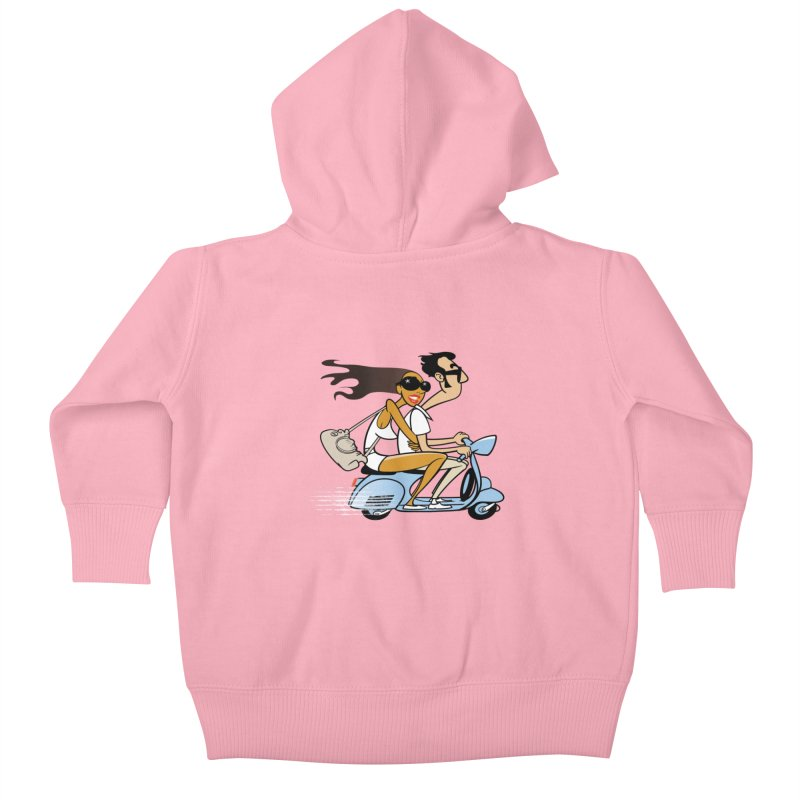 Scooter Couple Kids Baby Zip-Up Hoody by drawgood's Shop