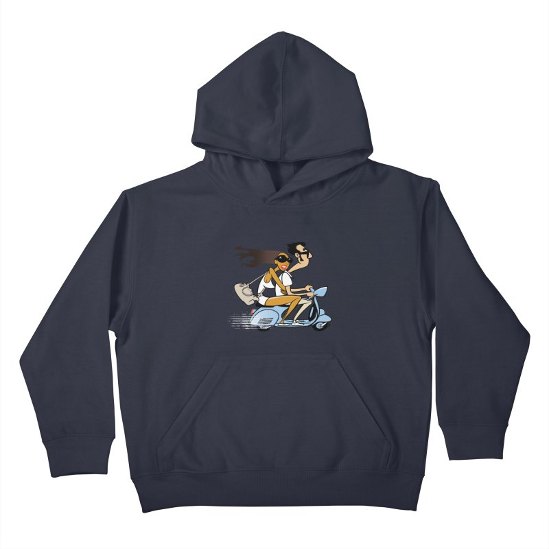 Scooter Couple Kids Pullover Hoody by Studio Drawgood