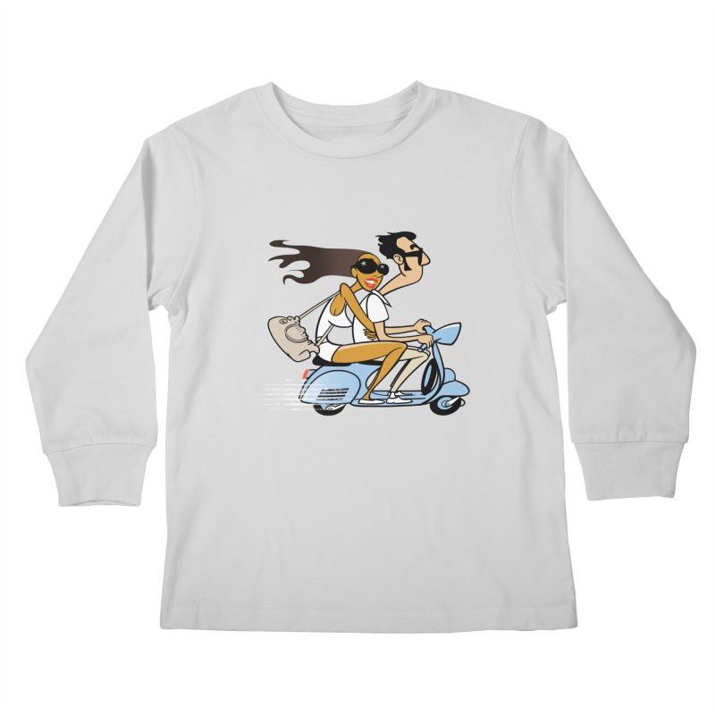 Scooter Couple Kids Longsleeve T-Shirt by drawgood's Shop