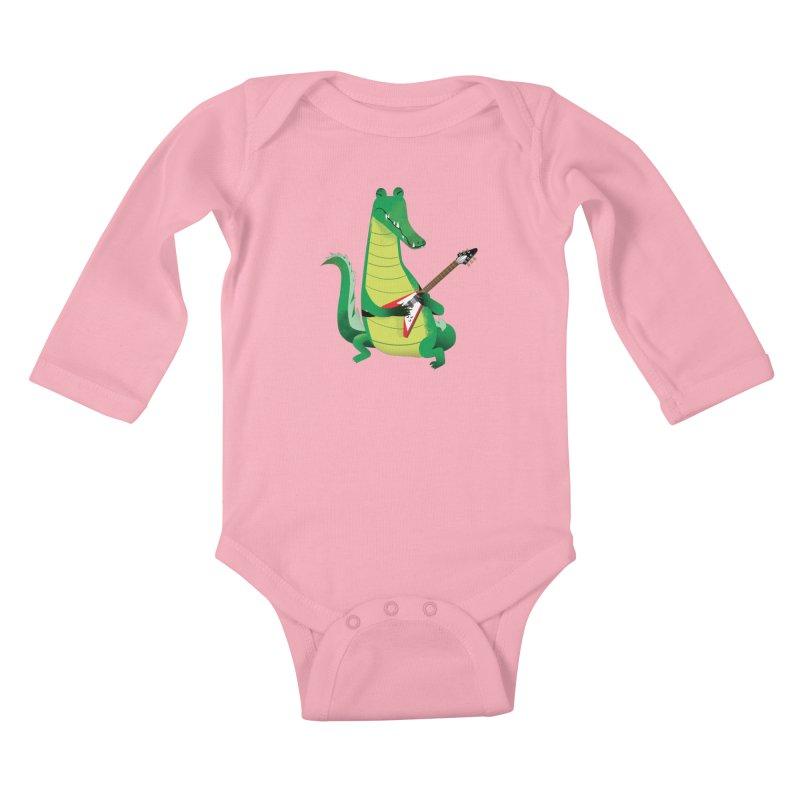 Crocodile Rock Kids Baby Longsleeve Bodysuit by drawgood's Shop