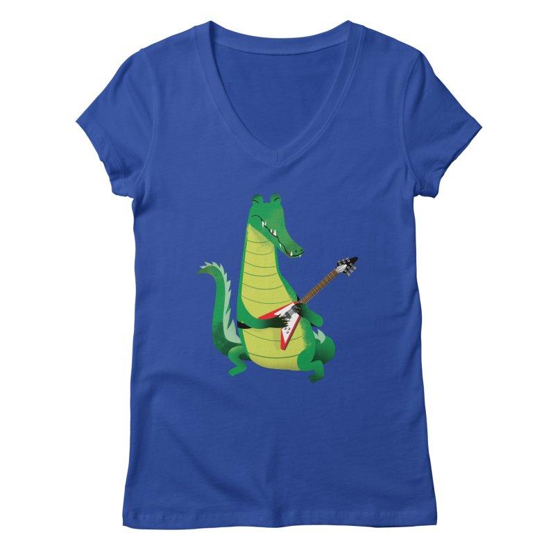 Crocodile Rock Women's V-Neck by drawgood's Shop