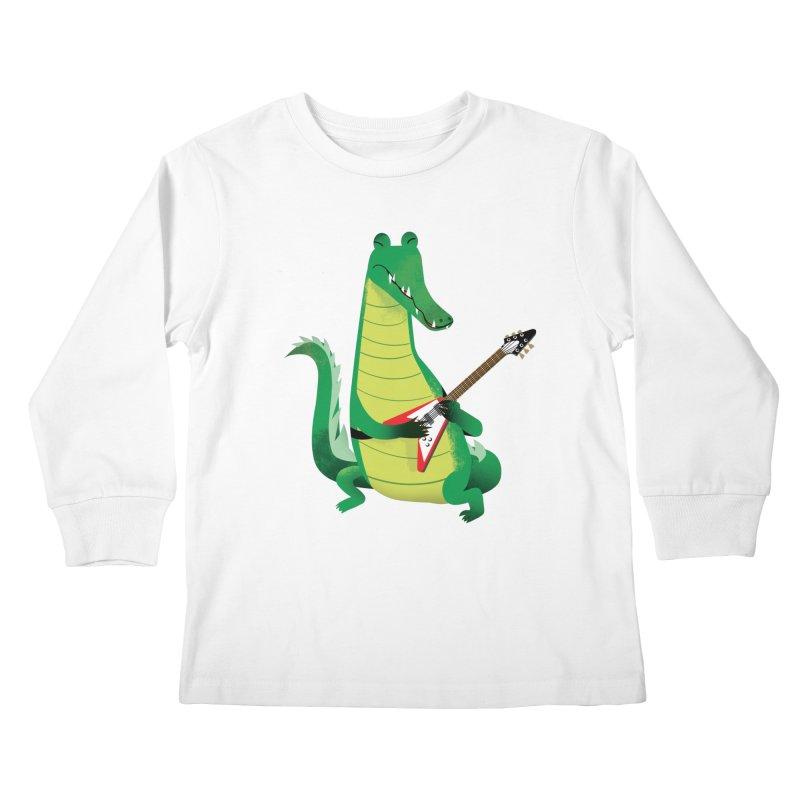 Crocodile Rock Kids Longsleeve T-Shirt by drawgood's Shop