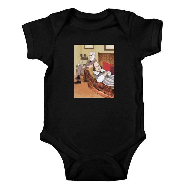 Freud Analysing Shakespeare Kids Baby Bodysuit by Studio Drawgood