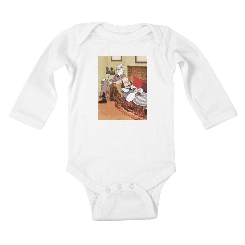 Freud Analysing Shakespeare Kids Baby Longsleeve Bodysuit by drawgood's Shop