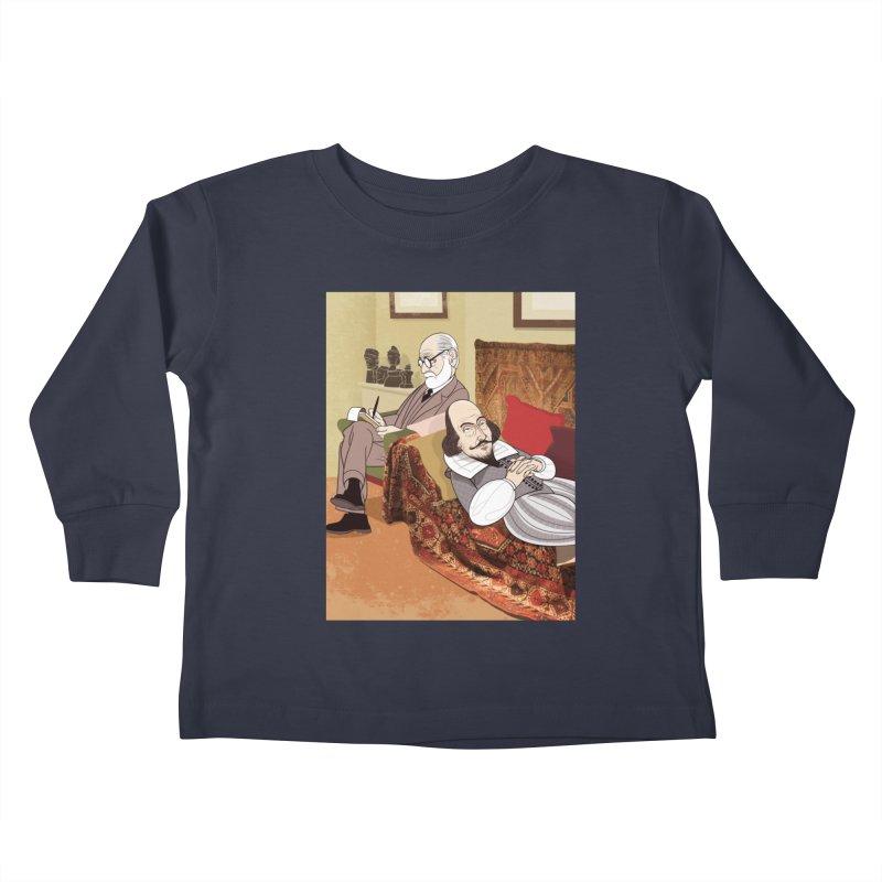 Freud Analysing Shakespeare Kids Toddler Longsleeve T-Shirt by drawgood's Shop