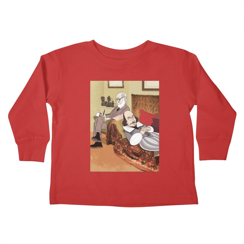 Freud Analysing Shakespeare Kids Toddler Longsleeve T-Shirt by drawgood's Shop