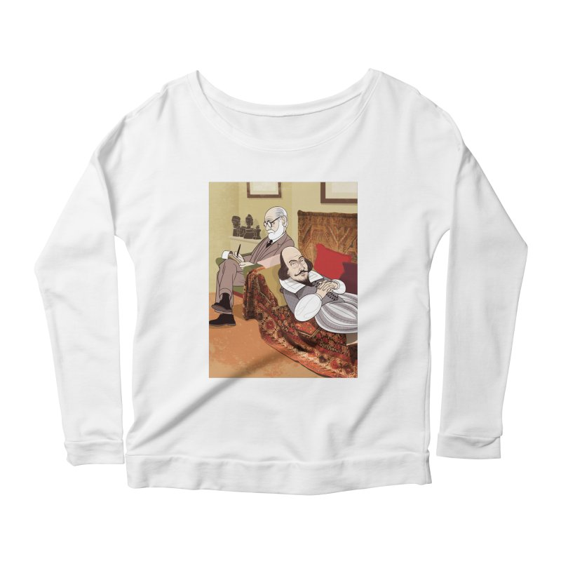 Freud Analysing Shakespeare Women's Longsleeve Scoopneck  by Studio Drawgood