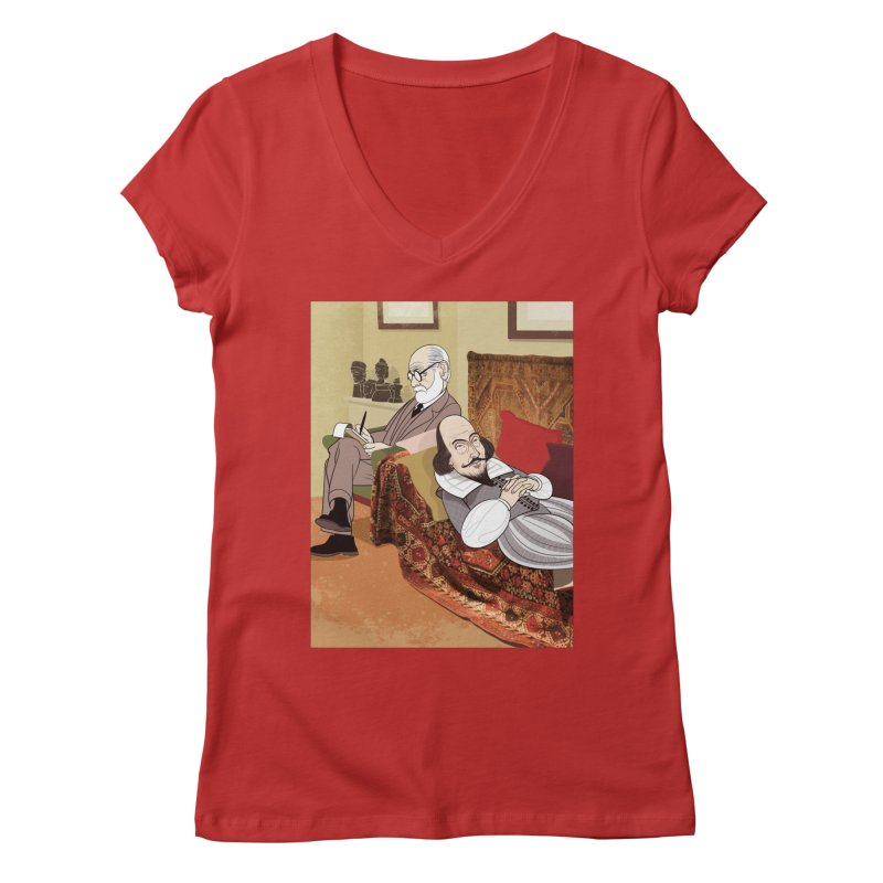 Freud Analysing Shakespeare Women's V-Neck by drawgood's Shop