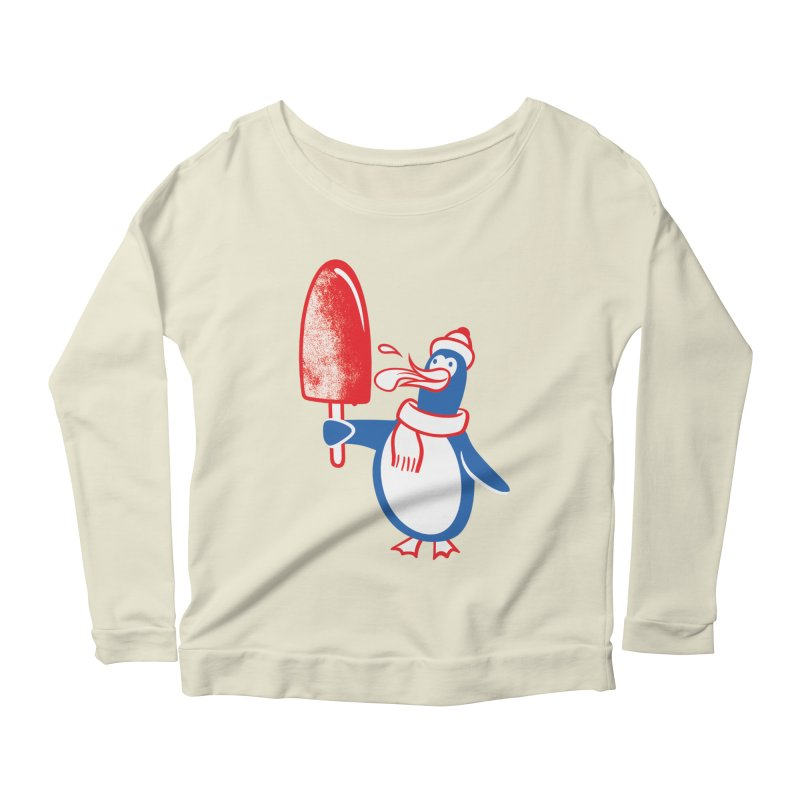 Popsicle Penguin Women's Longsleeve Scoopneck  by Studio Drawgood
