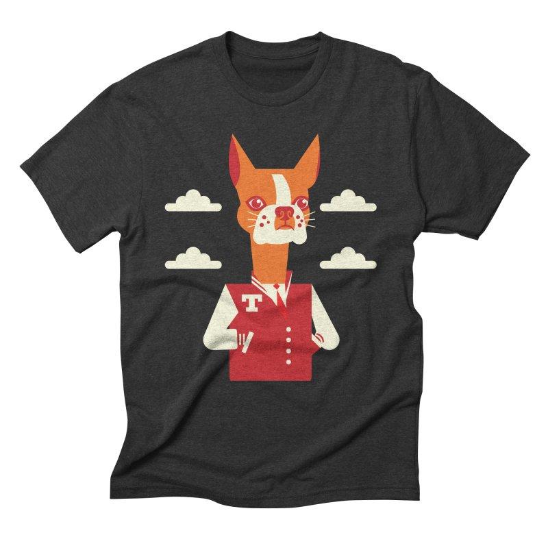Boston Bull Terrier Men's Triblend T-shirt by drawgood's Shop