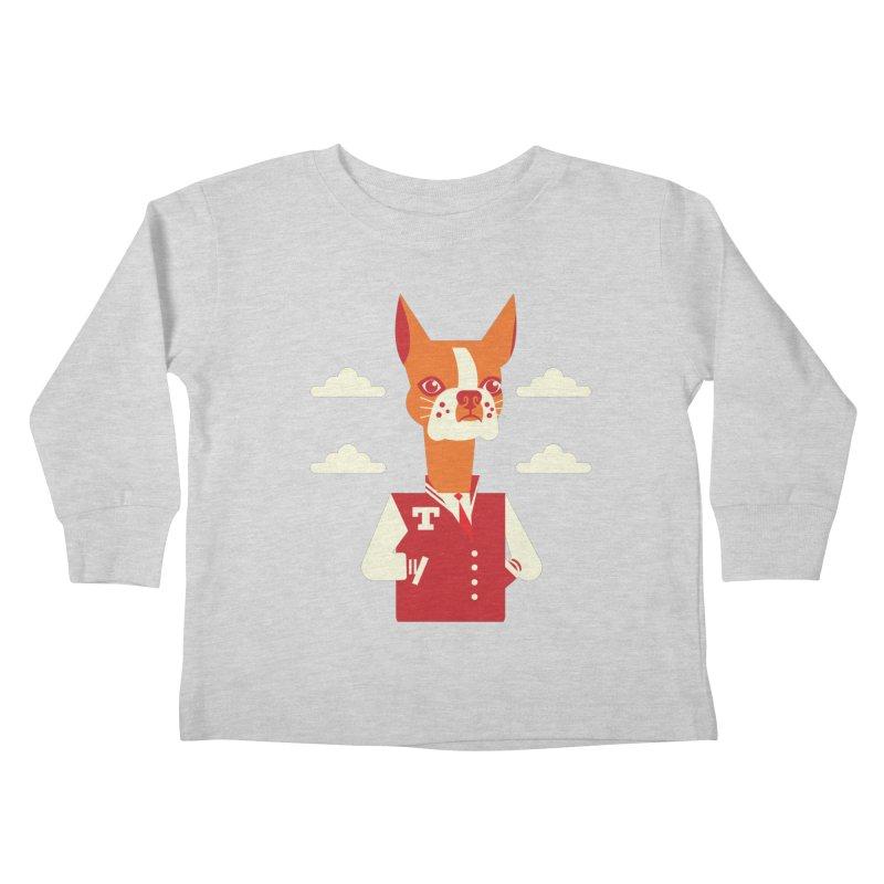 Boston Bull Terrier Kids Toddler Longsleeve T-Shirt by drawgood's Shop