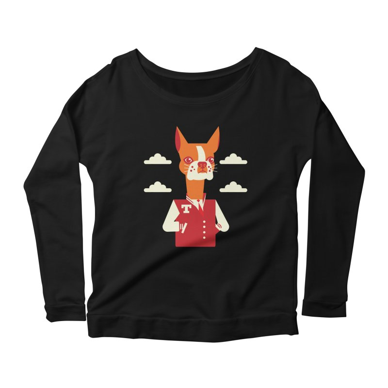 Boston Bull Terrier Women's Longsleeve Scoopneck  by Studio Drawgood