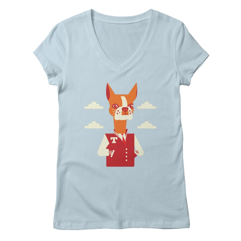 Boston Bull Terrier Women's V-Neck by Studio Drawgood