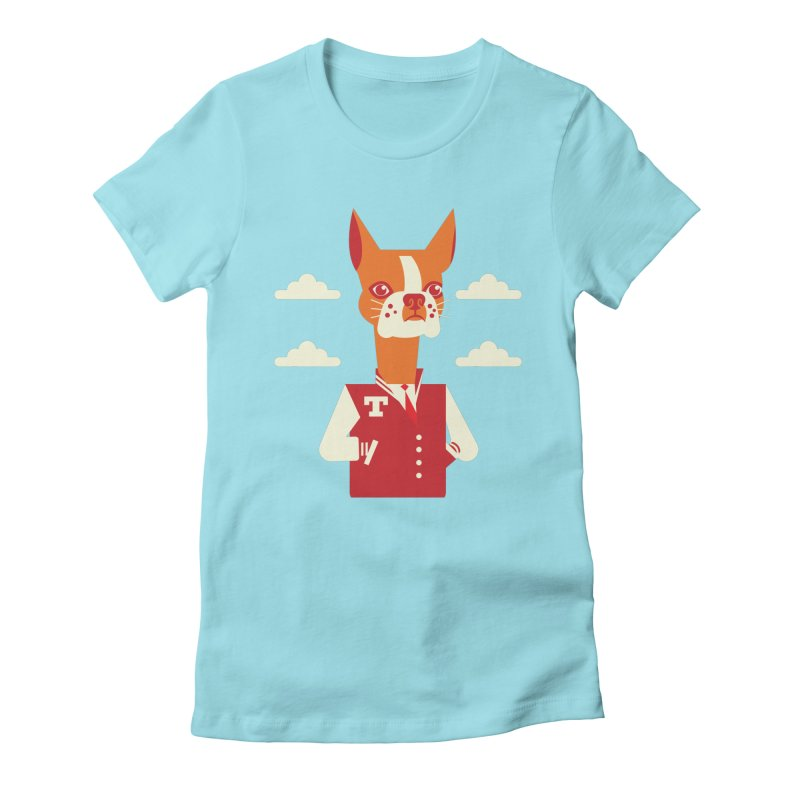 Boston Bull Terrier Women's Fitted T-Shirt by drawgood's Shop