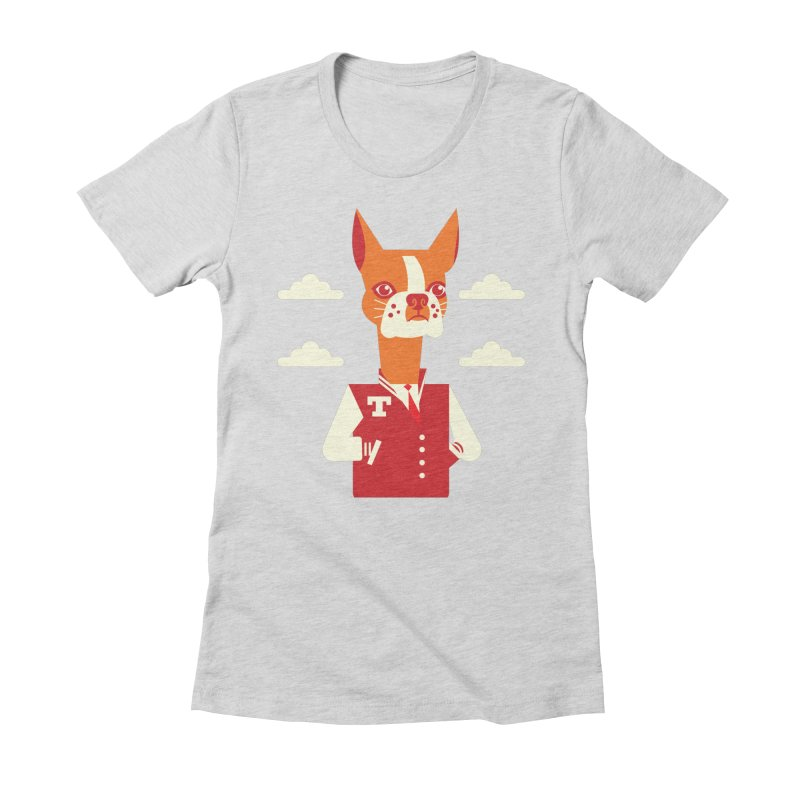 Boston Bull Terrier Women's Fitted T-Shirt by Studio Drawgood