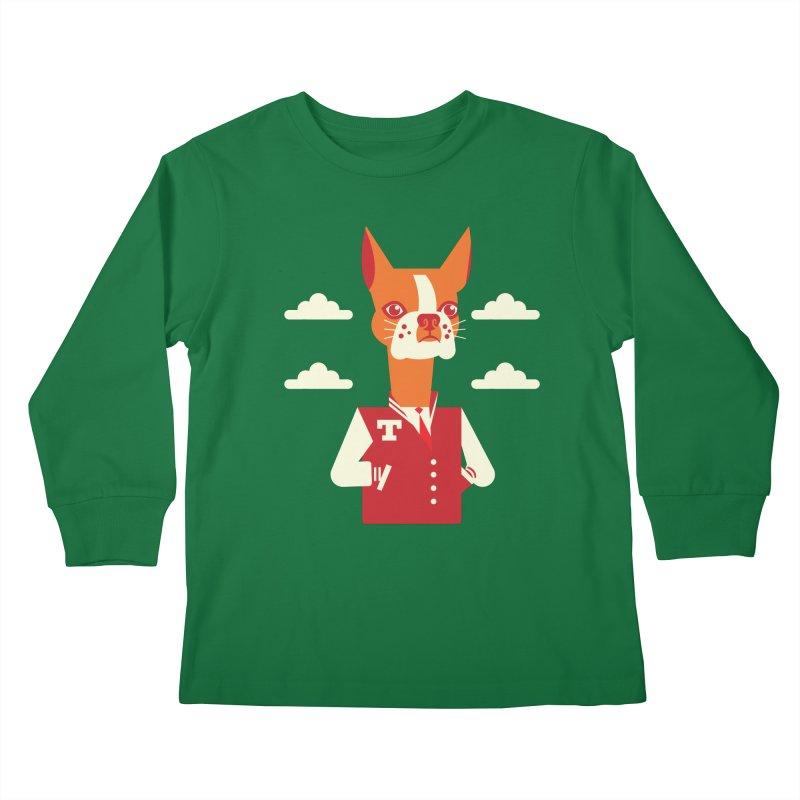 Boston Bull Terrier Kids Longsleeve T-Shirt by drawgood's Shop