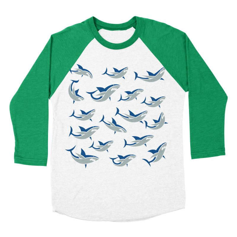 Shiver of Sharks Men's Baseball Triblend T-Shirt by Studio Drawgood