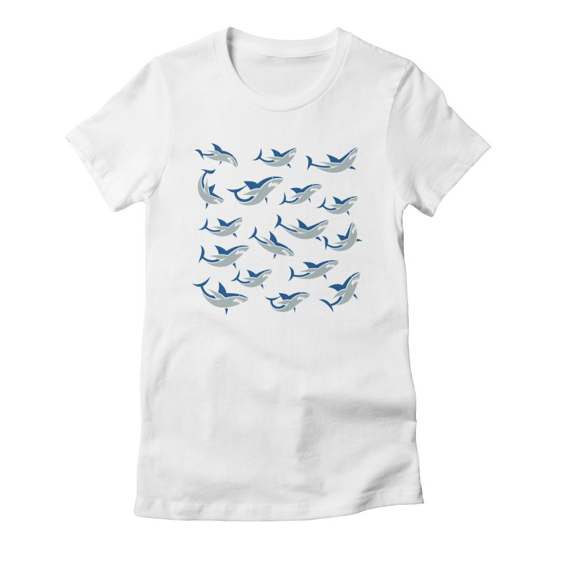 Shiver of Sharks Women's Fitted T-Shirt by Studio Drawgood