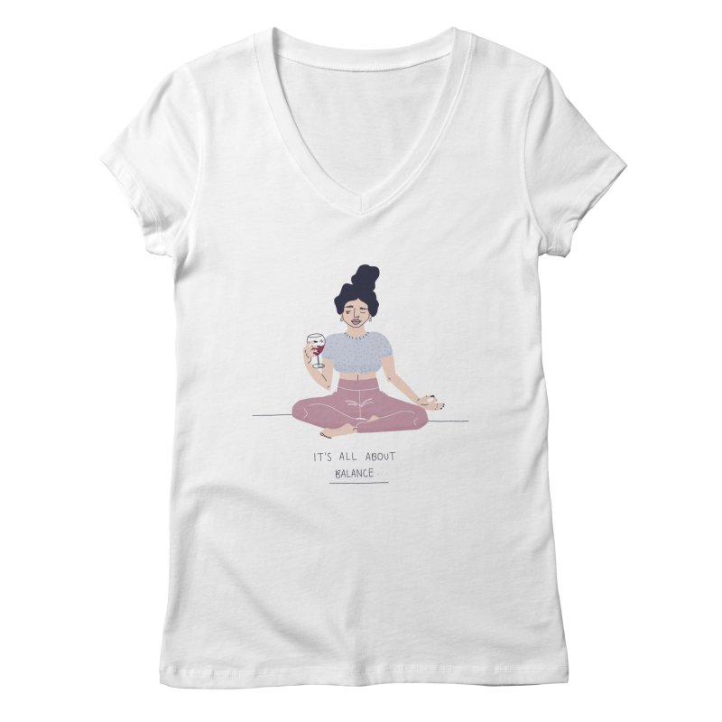 it's all about balance... Women's Regular V-Neck by Drawing Vicariously