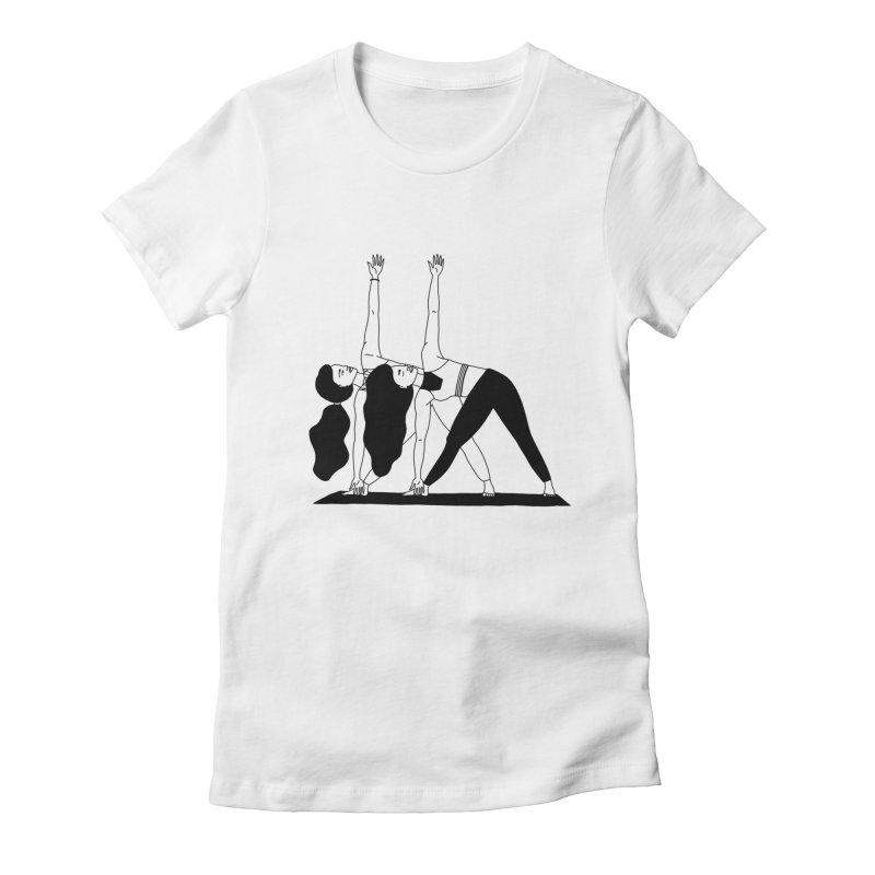 yoga girls Women's T-Shirt by Drawing Vicariously