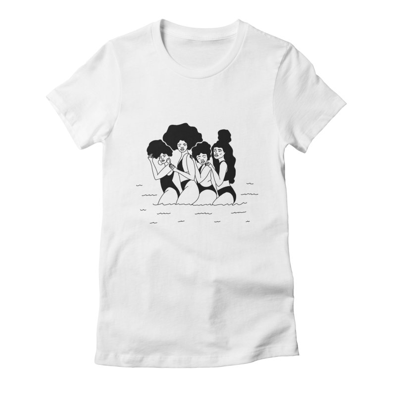 girls in the ocean Women's Fitted T-Shirt by Drawing Vicariously