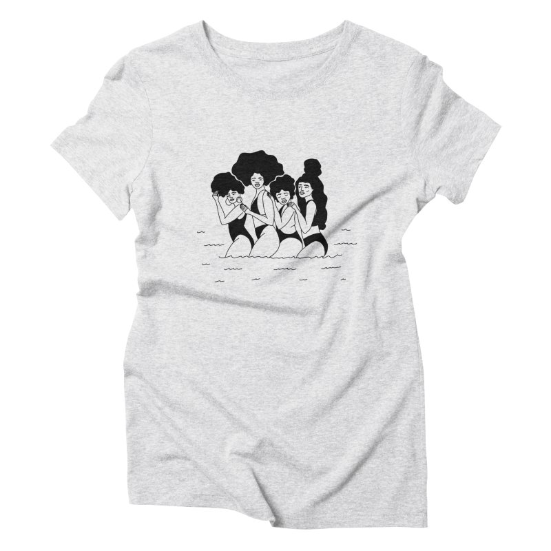 girls in the ocean Women's T-Shirt by Drawing Vicariously
