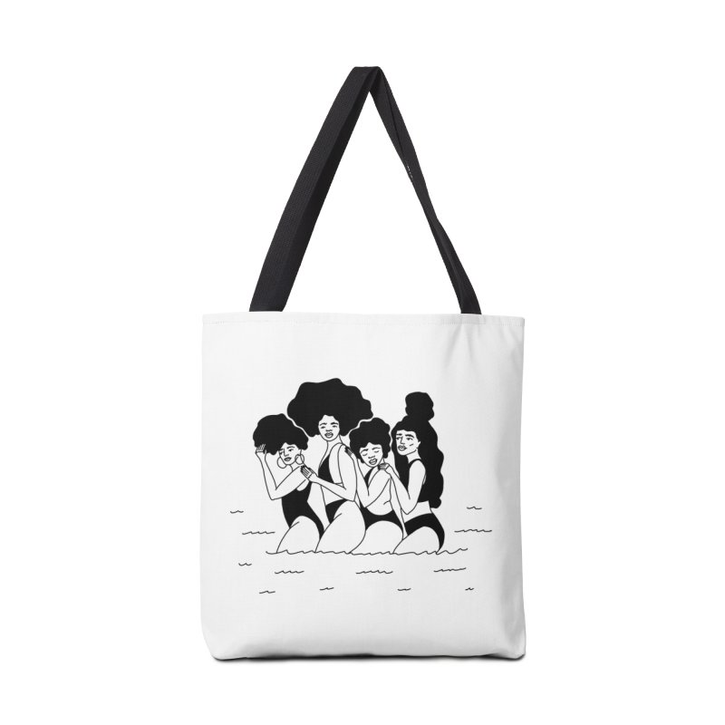 girls in the ocean in Tote Bag by Drawing Vicariously