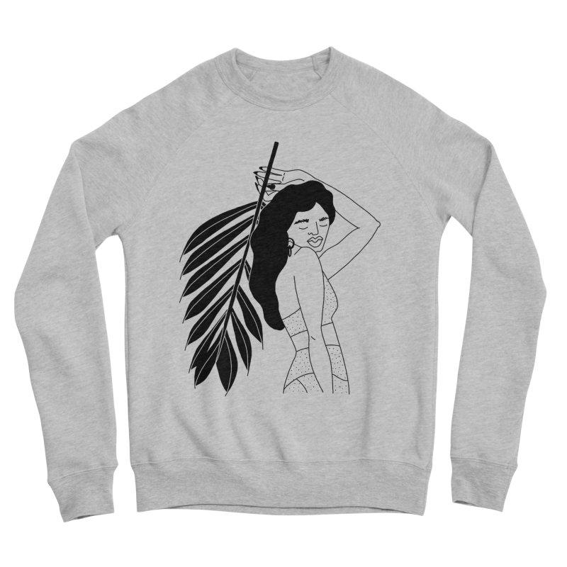 girl with palm Women's Sponge Fleece Sweatshirt by Drawing Vicariously