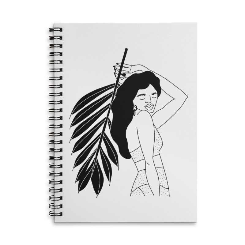 girl with palm in Lined Spiral Notebook by leeandracianci's Artist Shop