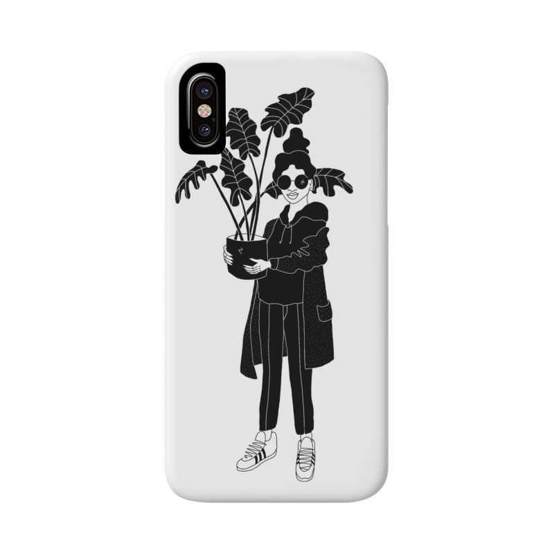 girl with plant in iPhone X / XS Phone Case Slim by Drawing Vicariously