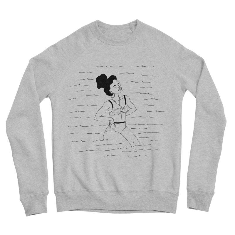 girl in the water Women's Sponge Fleece Sweatshirt by Drawing Vicariously