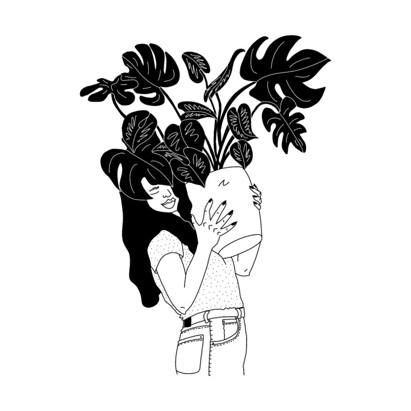 girl with monstera by Drawing Vicariously