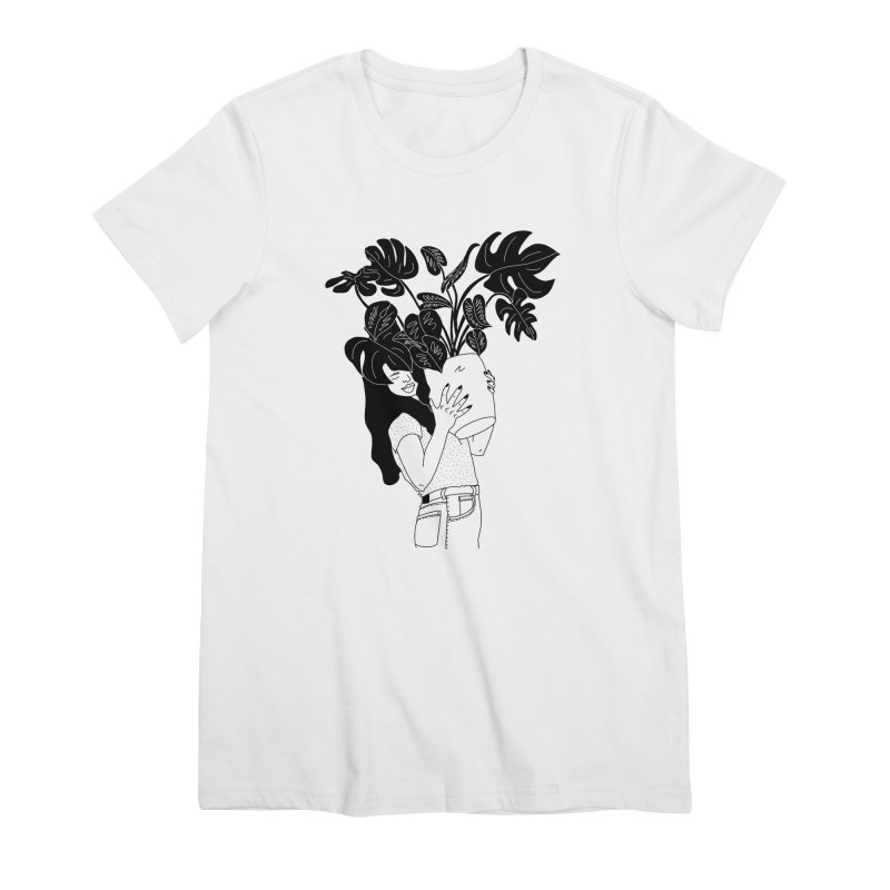 girl with monstera Women's Premium T-Shirt by Drawing Vicariously