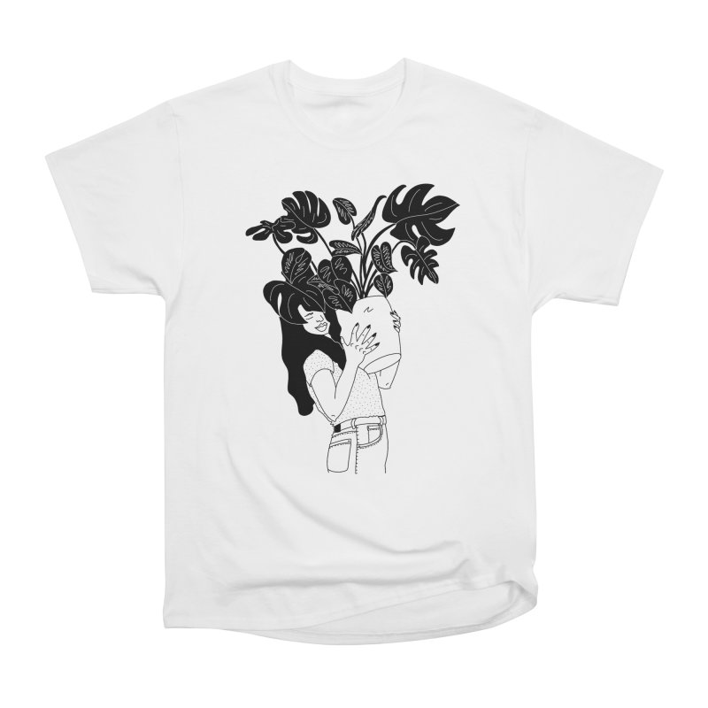 girl with monstera Women's Heavyweight Unisex T-Shirt by Drawing Vicariously