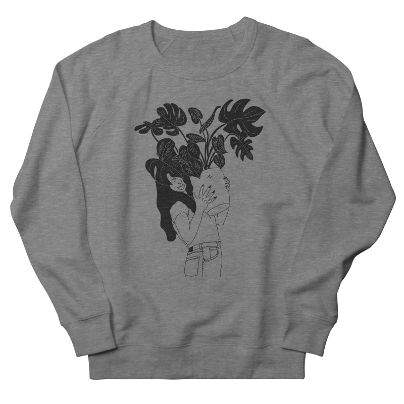girl with monstera Women's French Terry Sweatshirt by Drawing Vicariously