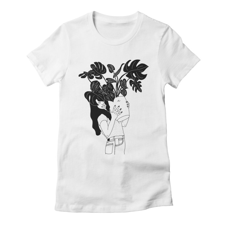 girl with monstera Women's Fitted T-Shirt by Drawing Vicariously
