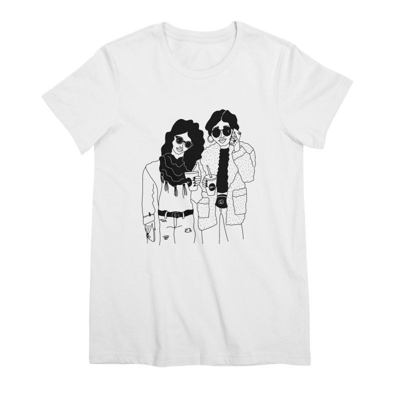 cool girls Women's Premium T-Shirt by Drawing Vicariously