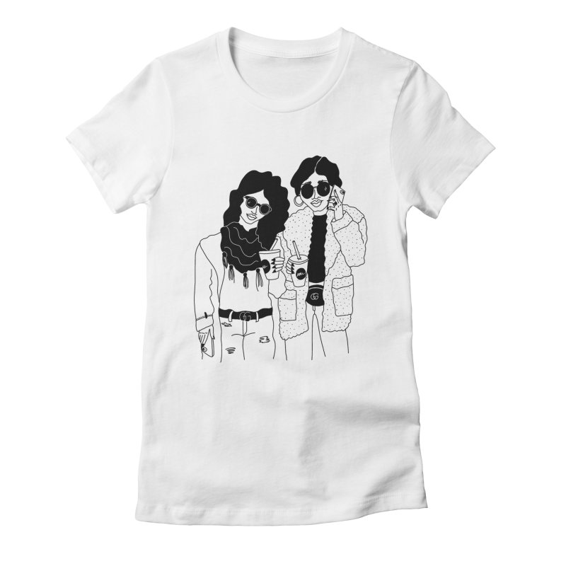 cool girls Women's Fitted T-Shirt by Drawing Vicariously