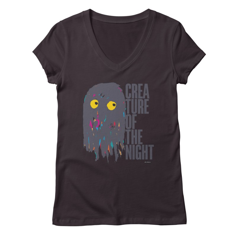 Creature of the Night Women's V-Neck by DRAWMARK