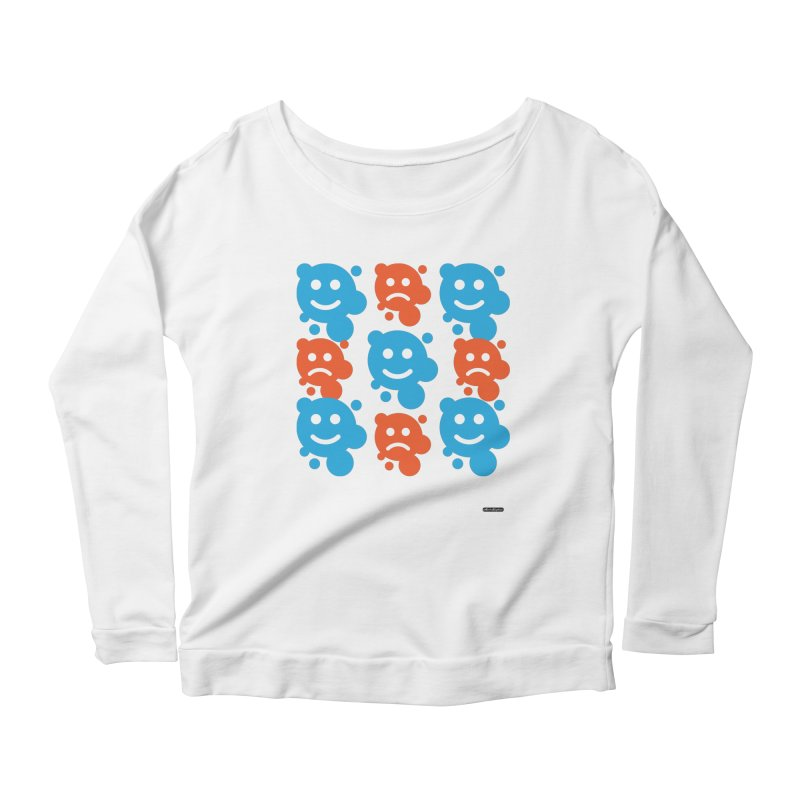 Happy // UnHappy Women's Longsleeve Scoopneck  by DRAWMARK