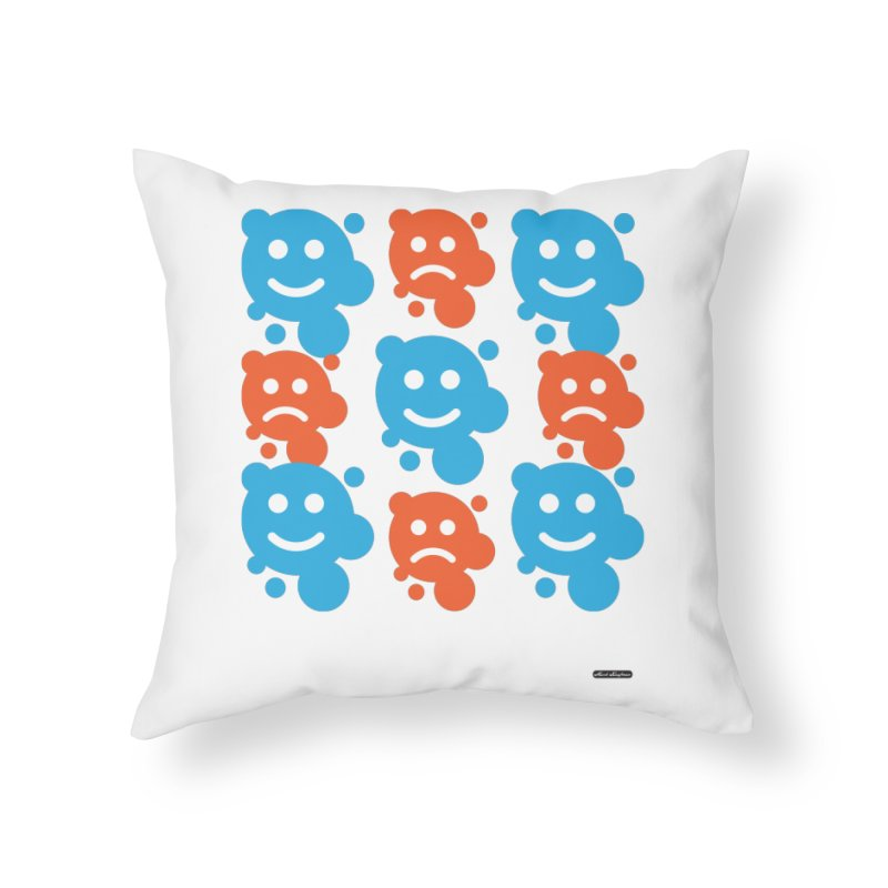 Happy // UnHappy Home Throw Pillow by DRAWMARK