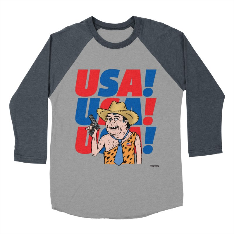 USA! USA! USA! Men's Baseball Triblend Longsleeve T-Shirt by DRAWMARK