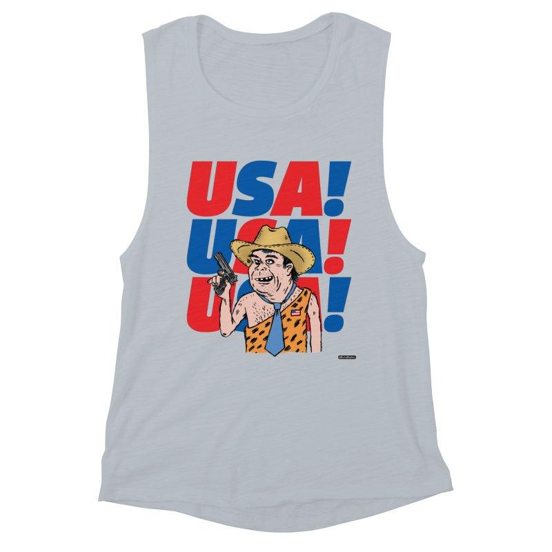 USA! USA! USA! Women's Muscle Tank by DRAWMARK