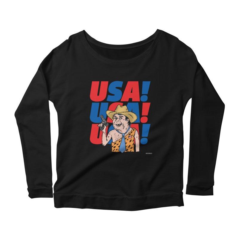 USA! USA! USA! Women's Scoop Neck Longsleeve T-Shirt by DRAWMARK