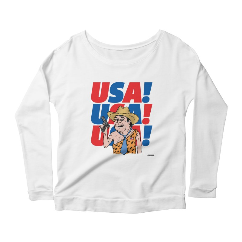 USA! USA! USA! Women's Scoop Neck Longsleeve T-Shirt by DRAWMARK