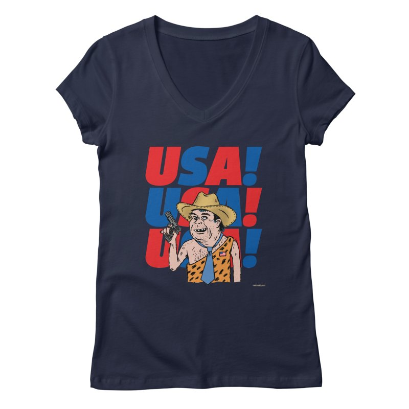 USA! USA! USA! Women's Regular V-Neck by DRAWMARK